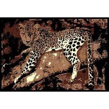 African Adventure Leopard on Tree 3 Area Rug