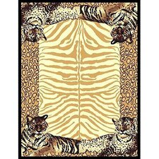 African Adventure Tiger Border Area Rug