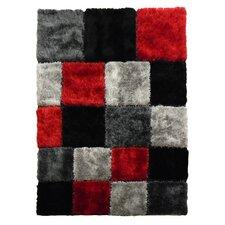 Flash Shaggy Red Geometric Square Area Rug