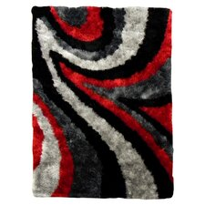 Flash Shaggy Red Abstract Wave Area Rug