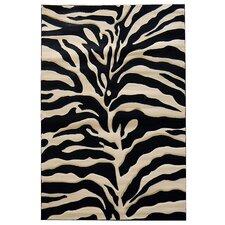 Sculpture Black/Gray Zebra Skin Print Area Rug