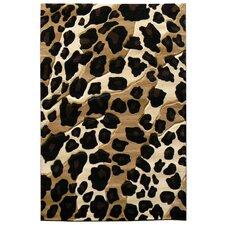 Sculpture Black/Brown Leopard Skin Print Area Rug