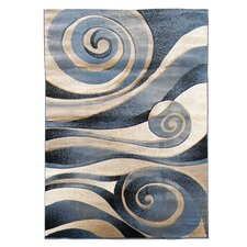 Sculpture Blue/Beige Abstract Swirl Area Rug