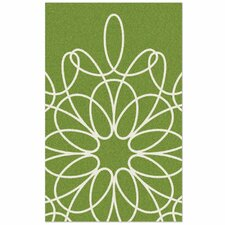 Ribbon Green/White Area Rug