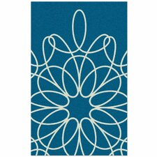 Ribbon Turquoise/White Area Rug