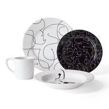 Letters 16 Piece Dinnerware Set