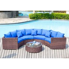 Del Mar 5 Piece Deep Seating Group with Blue Cushions