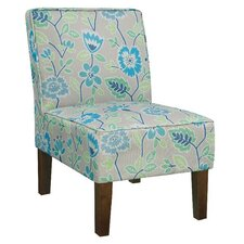 Alexandra Side Chair in Gray & Blue Floral (Set of 2)