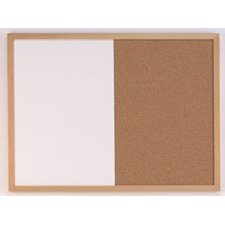 Combination Wall Mounted Bulletin and Whiteboard, 1' H x 2' W