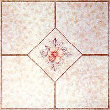 "12"" x 12"" Luxury Vinyl Tile in Light Pink Flower"