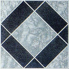 "12"" x 12"" 20 Piece Luxury Vinyl Tile in Black / Grey Diamond"
