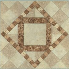 "12"" x 12"" Luxury Vinyl Tile in Beige / Brown Diamond"
