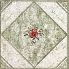 "12"" x 12"" Luxury Vinyl Tile in Light Green/ Red Flower"