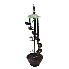 Iron 6 Leaf Tier in Rotational Floor Fountain