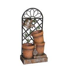 4 Piece Flower Pot and Garden Tool Fountain Set