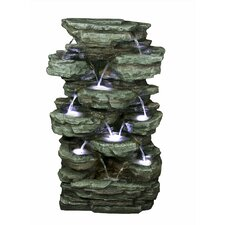 Stone Powder and Fiberglass Tiered Rock Rainforest Fountain
