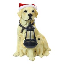Solar Christmas Dog and Puppy with Motion Sensored Bark