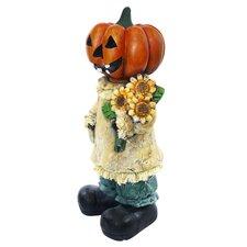 Pumpkin Lady Holding Sunflower Halloween Decor
