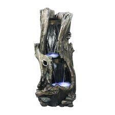 Tall Log Fiberglass Fountain with LED Lights