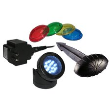 12 Super White LED Pond Light, Photo Cell, Stake and 4-Colored Lenses