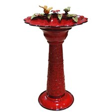 Metal Bird Bath in Red