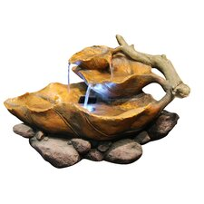 Fiberglass Leaf Tabletop Fountain with LED Light