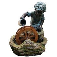 Polyresin Boy with Wheel Sculptural Fountain