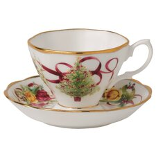 Old Country Roses Christmas Tree Teacup and Saucer (Set of 2)