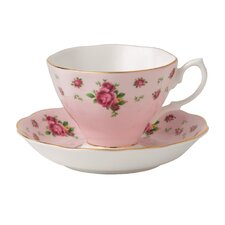 New Country Roses Formal Vintage Teacup and Saucer (Set of 2)