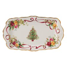 Old Country Roses Holiday Christmas Tree Rectangular Serving Tray