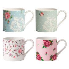 New Country Roses Modern Mugs (Set of 4)