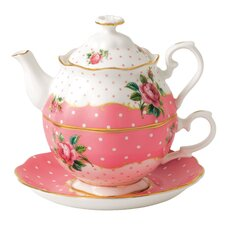 New Country Roses Vintage Tea for One Cup and Saucer Teapot Set