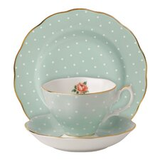 New Country Roses Polka Rose Teacup Set (Set of 3)