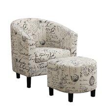 Dewall Barrel Chair and Ottoman Set