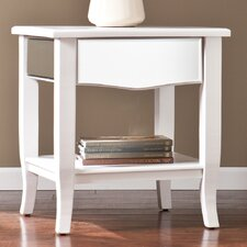 Marcel White Mirrored End/Side Table