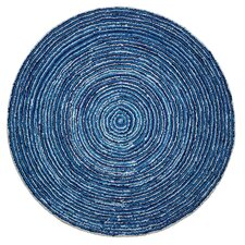 Lynley Hand-Tufted Blue Chindi Round Area Rug