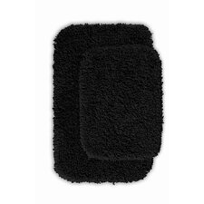 Devin 2 Piece Black Bath Rug Set (Set of 2)