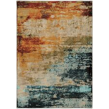 Agave Eroded Abstract Blue & Red Area Rug