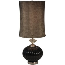 "Ribbed Glass 30.5"" H Table Lamp with Drum Shade"