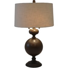 """Bronzed Steel 30.5"""" H Table Lamp with Drum Shade"""