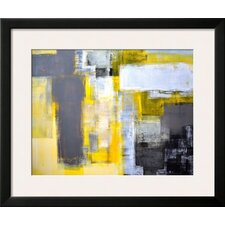 'Grey and Yellow Abstract' Framed Painting Print