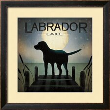 'Moonrise Black Dog - Labrador Lake' by Ryan Fowler Framed Graphic Art