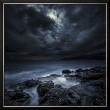 'Black Rocks Protruding Through Rough Seas with Stormy Clouds, Crete, Greece' Framed Photographic Print