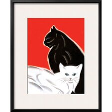 'Black and White Cat' by Frank Mcintosh Framed Painting Print