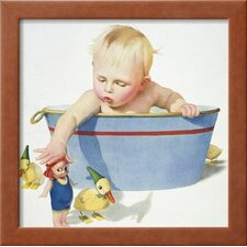 'Illustration of a Young Child Playing with Bath Toys' by E.N. Donaldson Framed Graphic Art