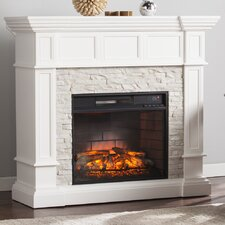 Frazier Faux Stone Corner Convertible Infrared Electric Fireplace