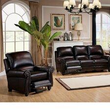 Push Back Leather Reclining Sofa