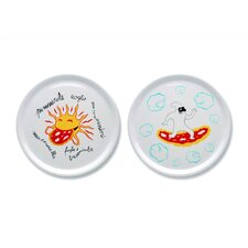 """A du Alessi - Dream Factory 12.2"""" Pizza Plates by Massimo Giacon (Set of 2)"""
