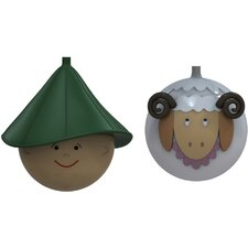 Le Palle Presepe 2 Piece Sheep and Herder Sculpture