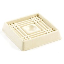 Almond Smooth Rubber Square Caster Cups (Set of 2)